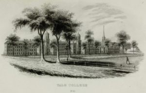 Yale College in 1845, the year after DKE was founded there. Image courtesy of the Phi Alpha British Colombia DKE Chapter.