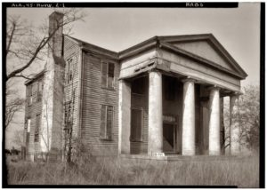 1934 photograph of the antebellum home of Rodah Horton, father of DKE Founder W. Walter Horton, near Huntsville, Ala. Construction of this home was completed around the time that Walter Horton co-founded DKE at Yale in 1844, and Founder Horton likely lived there for some time before moving to Marengo County. The home was demolished in 1949. Photo for the Historic American Buildings Survey, courtesy of shorpy.com.