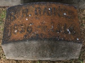 Headstone of Brother Reuben Reid Gaines, Psi 1855, Austin, Texas.