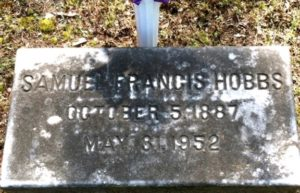 Tombstone of Brother Samuel Francis Hobbs, Psi 1908 in Live Oak Cemetery, Selma, Alabama. Photo courtesy of Rennis Howard, findagrave.com.